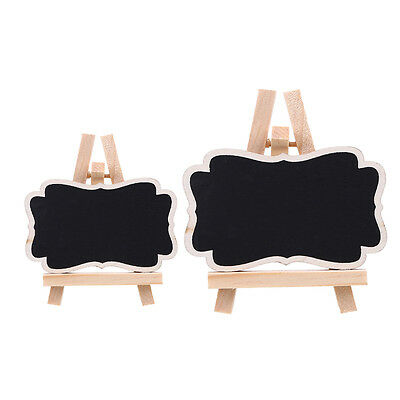 8x Rectangle Easel Stand Mini Wooden Wedding Blackboard Chalkboard Message Tags