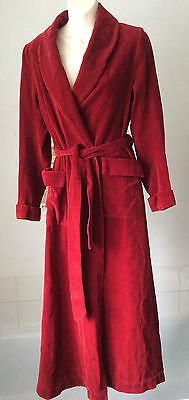 vintage 1950's Myers red cotton corduroy dressing gown/ robe ~ S- 8-10