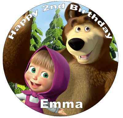 Masha And The Bear Personalised Personalised Wafer Paper Topper For Large Cake