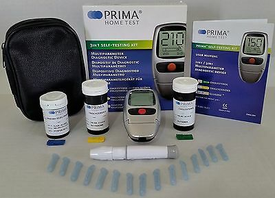 Prima 3In1 Cholesteroltriglyceridesglucose Test Meter Kit New - Sealed