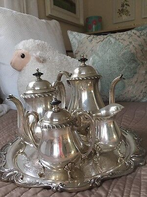 Crescent Vintage Webster Wilcox ROCHELLE Silverplated Coffee Tea Service Set 6pc