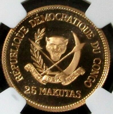 1970 Gold Congo Dem Republic 25 Makutas Mobutu  Ngc Proof 68 Uc 1,000 Minted