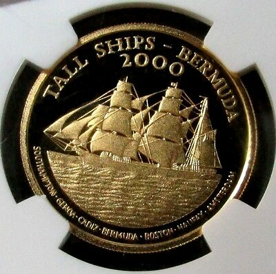 2000 Gold Bermuda $15 Ngc Proof 66 Ultra Cameo Tall Ships Only 1,500 Minted