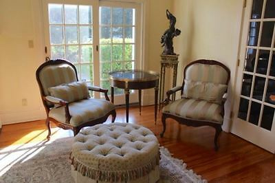 Pair Of Wide Ornate Carved Wood Upholstered Arm Side Chairs