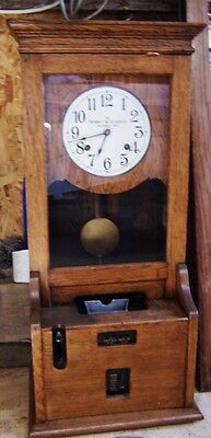 antique Cincinnati recorder time clock, large size excellent clock working but