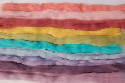 Pastel Hues Merino Wool dyed fibre roving tops- needle felting & hand spinning