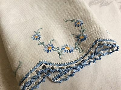VTG Hand made Floral Forget me nots pattern Linen Embroidery tea towel Cloth