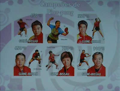 Table Tennis Champions m/s Guinea-Bissau 2009 MNH Mi.4474-78 #GB9611a IMPERF