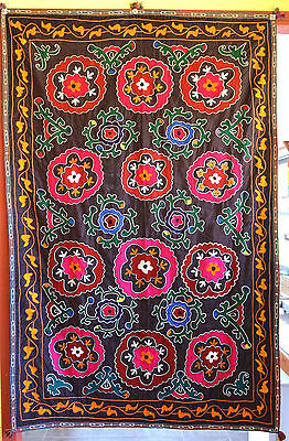 Large Old Uzbek Suzani Hand Made Embroidery Wall Hanging