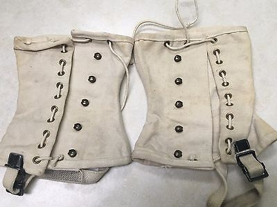 Pair of Official Boy Scout White Leggings / Spats - Size Large