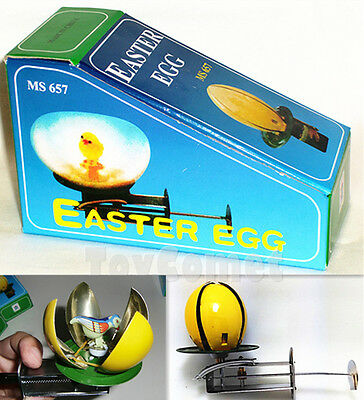 MS657 Vintage Bird in Shell Easter Egg Retro Wind-Up Spinning Tin Toy w/Box