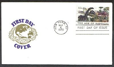 Petes Stamps Us Fdc 1970 The Age Of Reptiles 6C #1390 First Day Of Issue Cover