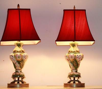 Pair of Vintage Capodimonte Lamps with Red Shades Signed Cherubs