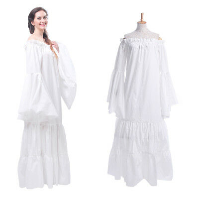 Renaissance Medieval Costume Classic Chemise Ruffled Tiered Dress USA Ship