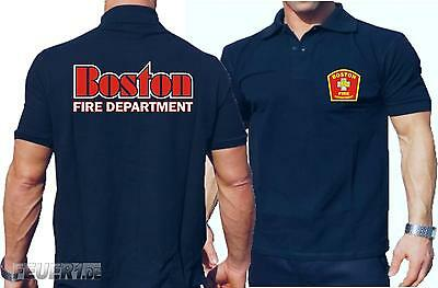 Poloshirt navy, Boston Fire Dept., Boston-Schriftzug