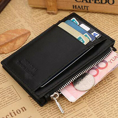 Men's Genuine Leather Coin Pocket Purse Small Wallet Credit Card ID Holder GIFT