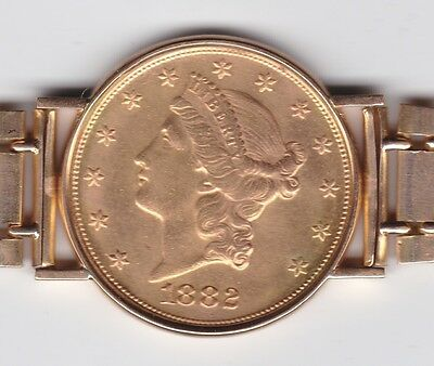 1882 Gold Twenty Dollar $20 with band total weight 91.4 grams .9000 Very Nice