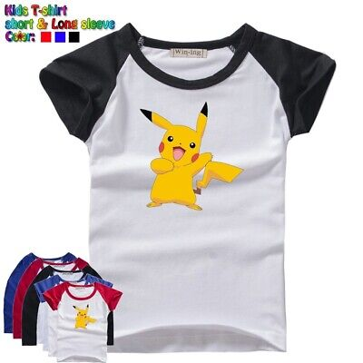 d6a01ad35 Cute Cartoon Pikachu Pokemon Kids T-Shirt Gift For Boys Girls Graphic Tee