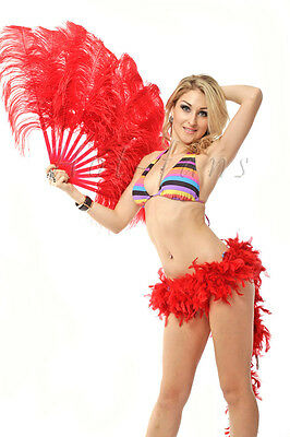 "single layer Red Ostrich Feather Fan Burlesque friend 25""x45"" in gift box"