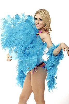 "single layer Turquoise Ostrich Feather Fan Burlesque friend 25""x45"" in gift box"