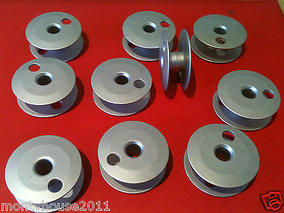New!#510007 10 ALUMINIUM LARGE BOBBIN SPOOLS For Singer 211 Brother 836 Juki563
