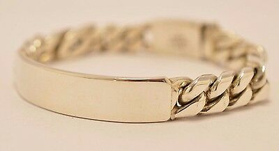 """Taxco Mexican 925 Sterling Silver Curb Chain ID Bracelet. 7.5"""", 19cm, 67 grams"""