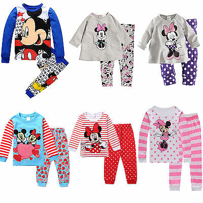 2Pcs Baby Kids Boys Girls Minnie Mickey Mouse Cotton Sweatshirt Pants Suit
