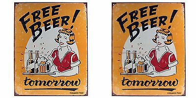 Free Beer Tomorrow Metal Bar Sign Funny Tin Pub Drinking Poster Decor New
