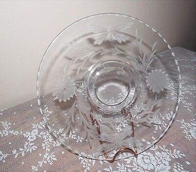 Antique Glass Etched Dish Floral Butterfly Design 8 Point Star Wall Plates Retro