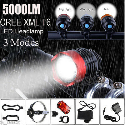 5000LM CREE XML T6 LED Headlight Bike Rechargeable Head Lamp+Rear light set lot