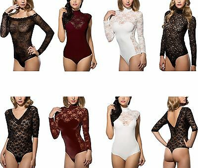 Spitzenbody Damenbody Stringbody Edler Body Damen Transparent Bodysuit Spitze
