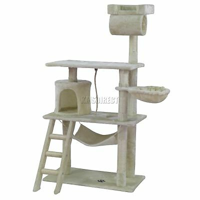 FoxHunter Kitten Cat Tree Scratching Post Sisal Toy Activity Centre Beige CAT064