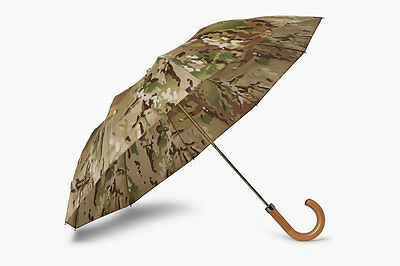 $380 London Undercover Green Camo Wood Handle Fold Clear Rain Classic Umbrella