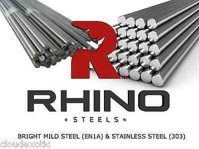 Bright Mild Steel & Stainless Steel - Round Solid Metal Bar Rod EN1A 3mm - 60mm