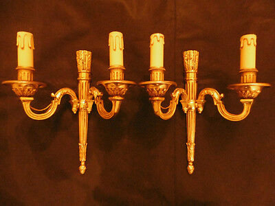 PAIR OF SCONCES LOUIS XVI STYLE - PETITOT - FRENCH ANTIQUE - 2 pairs available