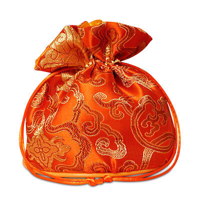 POUCH - GOLDEN ORANGE Large Satin Brocade w/Silk Lining & Drawstring Closure