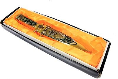 "11"" Defender Gold Color Mongolian Dagger with Sheath"