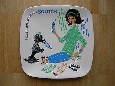 Bunter Zahlteller Money Tray Solitär Lederpflege 50er Fifties Midcentury Vintage