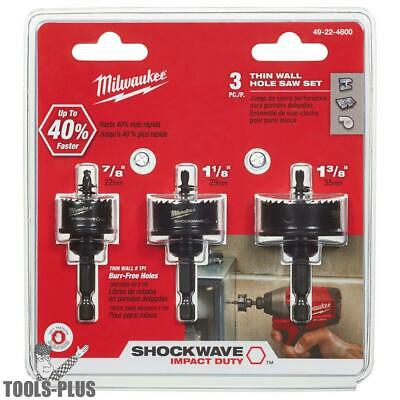 3pk Shockwave Impact-Duty Thin Wall Hole Saw Set Milwaukee 49-22-4800 New