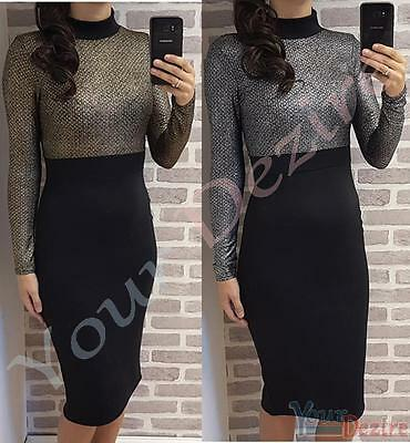 Womens Bodycon High Neck Dress Ladies Party Evening Full Sleeve Dress Size 6-14
