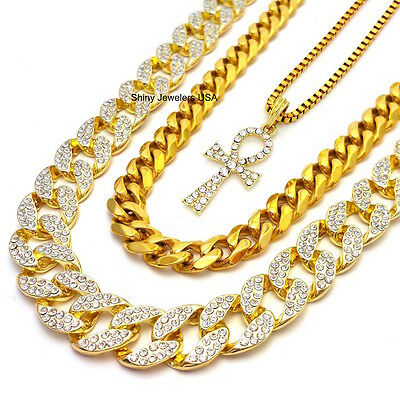 Mens Gold Micro Egyptian Ankh (Key Of Life) 3 Chain Necklaces Miaimi Cuban Link