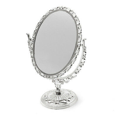 Silver Vanity Make Up Cosmetic Table Bathroom Mirror On Foot Stand Dm