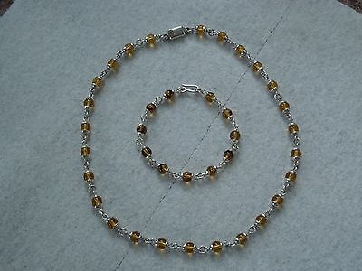 925 TAXCO SILVER AMBER BEADED NECKLACE&BRACELET VINTAGE MEXICAN JEWELRY,handmade
