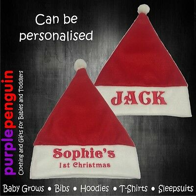 Plain or Embroidered Red Xmas Santa Hat Baby Name 1st Christmas Personalised