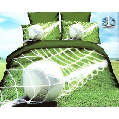 3D Duvet Quilt Cover Boys Sport Bedding Set Basketball Football Single Double