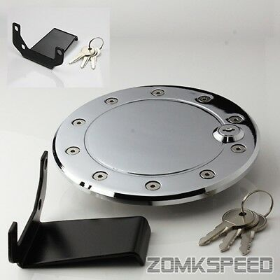 Glossy Chrome Billet Gas Fuel Filler Cap Door Cover w/ Lock For 09-14 Ford F150
