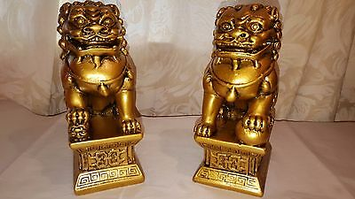 Pair Bronze colour Chinese Feng Shui Foo/ Fu Lion Dogs Temple Guardian Lions