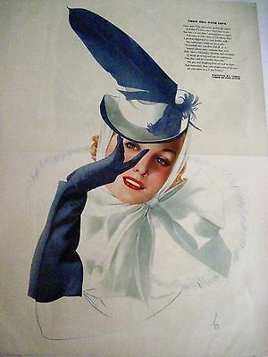 """Pin-Up """"The Varga Girl"""" 1940s Centerfold Esquire Mag.""""From Bill With Love"""" *"""