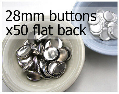 28mm self cover metal BUTTONS FLAT backs (sz 45) 50 QTY + FREE instructions