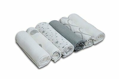 Cuddles Collection Printed Muslin Squares (6 Pack, Silver/ White)